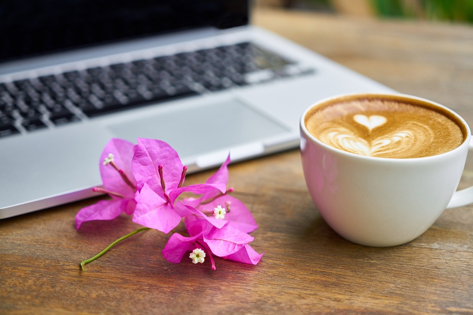 laptop, coffee, flower